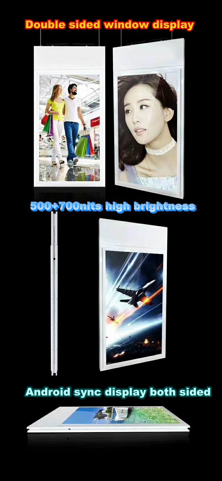 Double sided hanging display screens